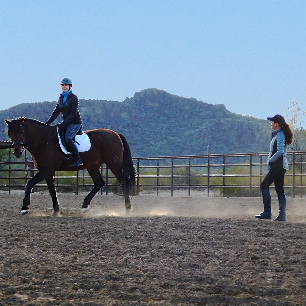 julie giving lesson to rider